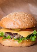 Closeup of classic burger - stock photo