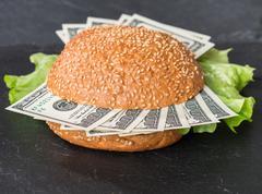 Hamburger with dollar bank notes Stock Photos