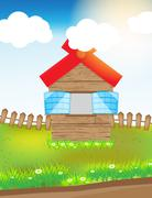 Wood house in grass field Stock Illustration