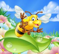 Cartoon Bee in Meadow Stock Illustration