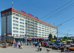 """Hotel """"Gomel"""", Privokzalnaya square, Gomel, Belarus Stock Photos"""