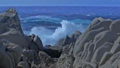 Shades of Blue Sea and Granite Rock Capo Testa Sardinia Italy - 29,97FPS NTSC Stock Footage