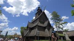 The Norwegian Stave Church of Walt Disney World Resort, Orlando Stock Footage