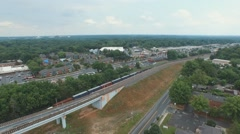 Flying Over Moving Train Stock Footage