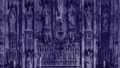 Winchester Cathedral altar. Tint Dark Blue. Stock Footage