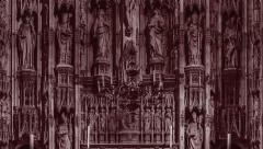 Winchester Cathedral altar. Tint Dark Red. - stock footage