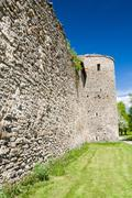 Medieval defensive tower and wall Stock Photos
