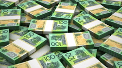 Stack of Australian Dollar Stock Footage