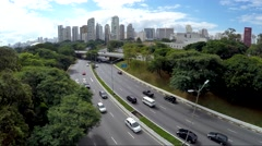 Cars on 23 de Maio Avenue in Sao Paulo, Brazil Stock Footage