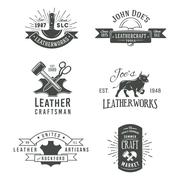 First set of grey vector vintage craft logo designs, retro genuine leather tool Stock Illustration