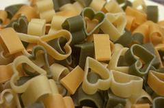 Heart shaped pasta. Stock Photos