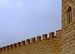 Castle tower and battlements Stock Photos