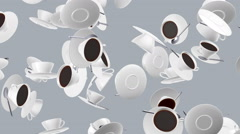 Flying coffee cups. Looping. Alpha channel is included. Stock Footage