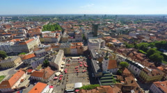 Aerial view of central Zagreb with Dolac market. Stock Footage