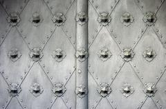 Old iron door background - stock photo
