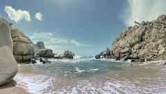 Wild Granite Rock Beach Capo Testa Sardinia Italy - 25FPS PAL Stock Footage