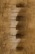 Sheet music, piano keys, musical notes - stock photo