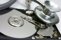 Stethoscope, hard drive, security, computer - stock photo