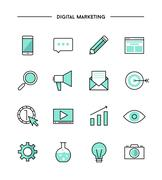 set of thin line flat digital marketing icons - stock illustration