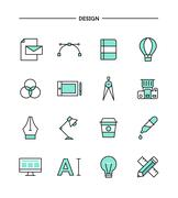 set of flat design, thin line designer's tools icons - stock illustration