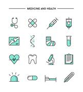 set of flat design, thin line medicine and health icons - stock illustration