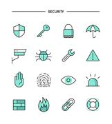set of flat design, thin line security icons - stock illustration