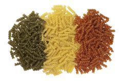 Fusilli, macaroni italian pasta Stock Photos