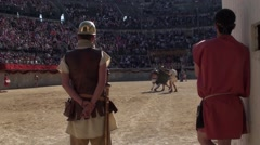 Gladiatorial combat in arena - stock footage