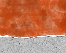Background, ripped paper, orange - stock photo