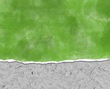 Background, ripped paper, green - stock photo