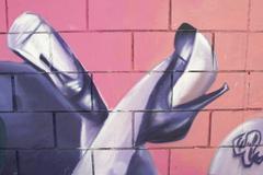 Graffiti, legs of woman, urban art Stock Photos