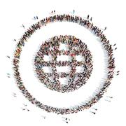 People in the shape of globe Stock Illustration