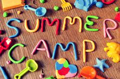 text summer camp made from modelling clay - stock photo