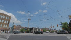 College Spadina Toronto CN Tower Intersection Low Angle Stock Footage