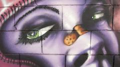 Graffiti, woman, urban art Stock Photos