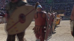Roman gladiators getting ready to go out in arenas 1 Stock Footage