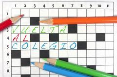 Back to school, crossword - stock photo