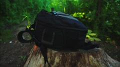 Man Takes a Backpack - stock footage