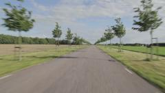 Driving a car on a tarmac road with small trees - stock footage