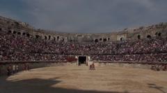 Gladiatorial combat in arena Stock Footage
