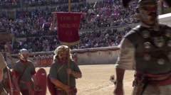 Gladiators' exit of arena Stock Footage