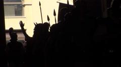 Helmets of Roman Gladiators Stock Footage