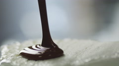 Chocolate Topping Covering Ice Cream Stock Footage