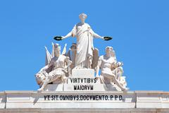 Statues at the top of Rua Augusta Arch in Lisbon, Portugal. Allegory of Glory Stock Photos