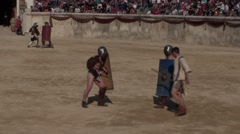 Gladiatorial combat in arena Roman games france Stock Footage