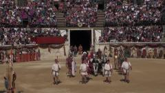 Gladiators' presentation in arena with the horses Stock Footage