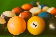 Pool billiards balls Stock Photos