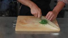 cutting, chopping parsley - stock footage