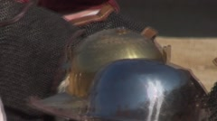 Helmets of Roman Gladiators to go out in arena Stock Footage