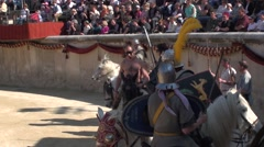 Gladiatorial combat with horses in arena Roman games Stock Footage